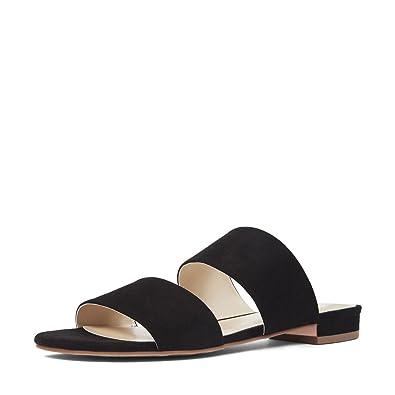 56dca2dba YDN Womens Casual Open Toe Sandals Block Low Heel Summer Flats Shoes Slip  on Black 10