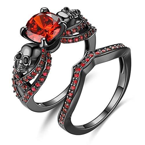 (YANLNER925 Gothic Black Skull Rings Red Crystal Ring Rings for Women (Red, 9))