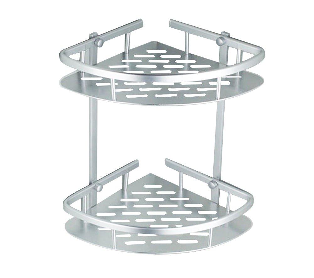 Bathroom Corner Shelf,2 Tier Shower Caddy Shelf Storage Rack Aluminum Satina Corner Shampoo Basket Holder Estink