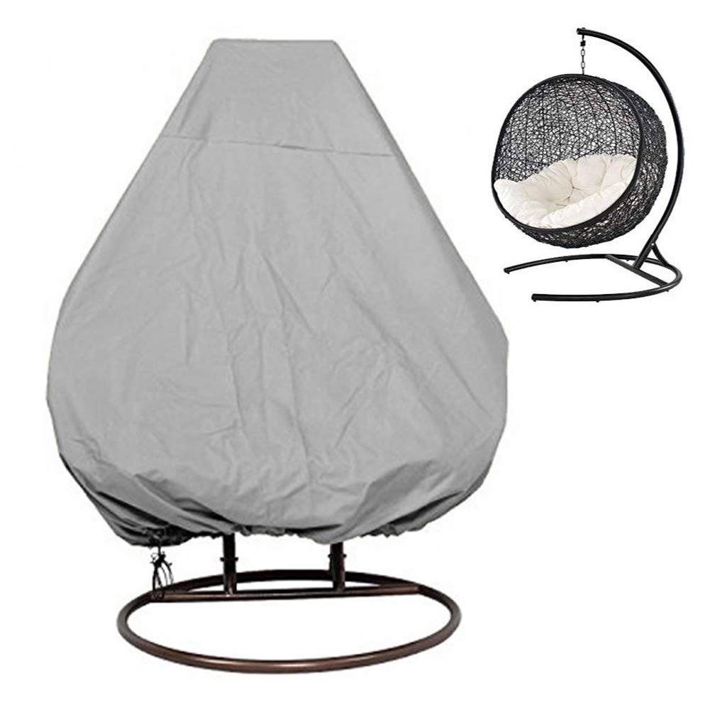 KIKIGOAL Outdoor Patio Hanging Chair Cover Wicker Egg Swing Chair Covers Heavy Duty Water Resistant (232203cm/91 80''(LxW), Grey)