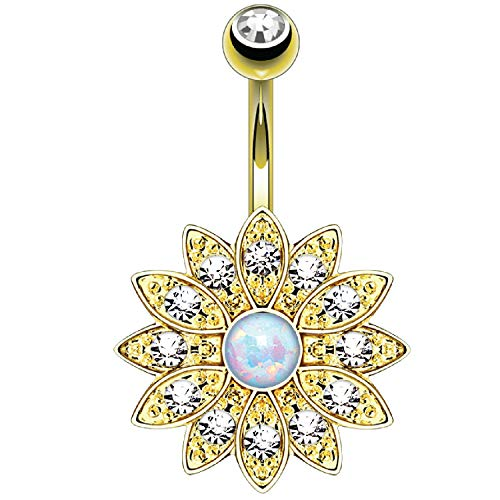 BodyJ4You Belly Button Ring Flower White Created-Opal Stone 14G Navel Banana Goldtone Steel Bar