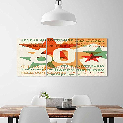 Analisahome 3 Panel Wall Art Set Frameless Decorations World Cities Birthday Party Abstract Stars Green Vermilion White The Kitchen, Dining Room, Living Room, Bar so on -