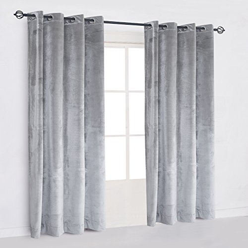 Large Size Smoky Gray Classic Blackout Velvet Curtain Panels Home Theater Grommet Drape Eyelet 84Wx84L-inch Light Grey(1 panel) with Matching Pillow and Tieback
