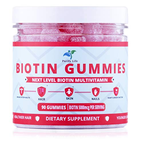Premium Biotin Gummies for Hair Growth, Glowing Skin and Stronger Nails |90ct| Pectin-Based Non-GMO Multivitamin Supplement for Men and Women with All Natural Ingredients - 5000 Mcg