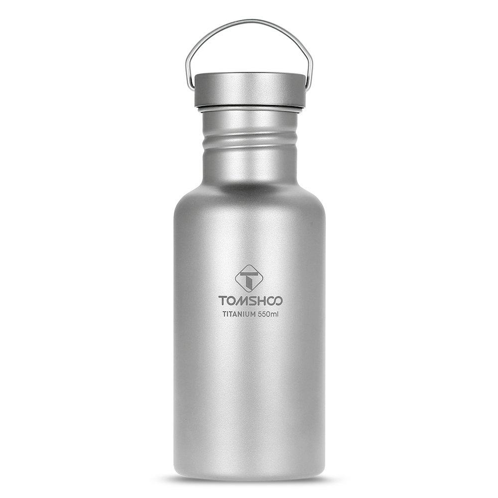 TOMSHOO Botella de Agua Aislada 550ml de Titanio BPA Free con una Tapa Extra Plástica para Gimnasio Viajes Yoga Oficina Senderismo: Amazon.es: Hogar