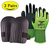 Originalidad Garden Tool Set- Knee Pads with Waterproof EVA Foam Cushion & Garden Soft Working Gloves for Gardening, Pruning, Planting, and Potting