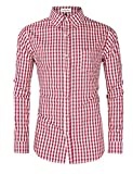 Clearlove Men's Casual Slim Fit Plaid Shirt Button Down Dress Shirts for German Bavarian Oktoberfest Red M