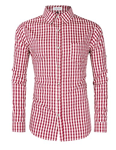 Clearlove Mens Plus size Cotton Casual Slim Fit Long Sleeve Button Down Oktoberfest T Shirts Red 2XL by Clearlove