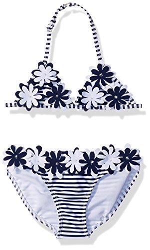 Kate Mack Big Girls' Daisy Crew Bikini, Navy/White, 7 - Kate Mack Girls Clothing