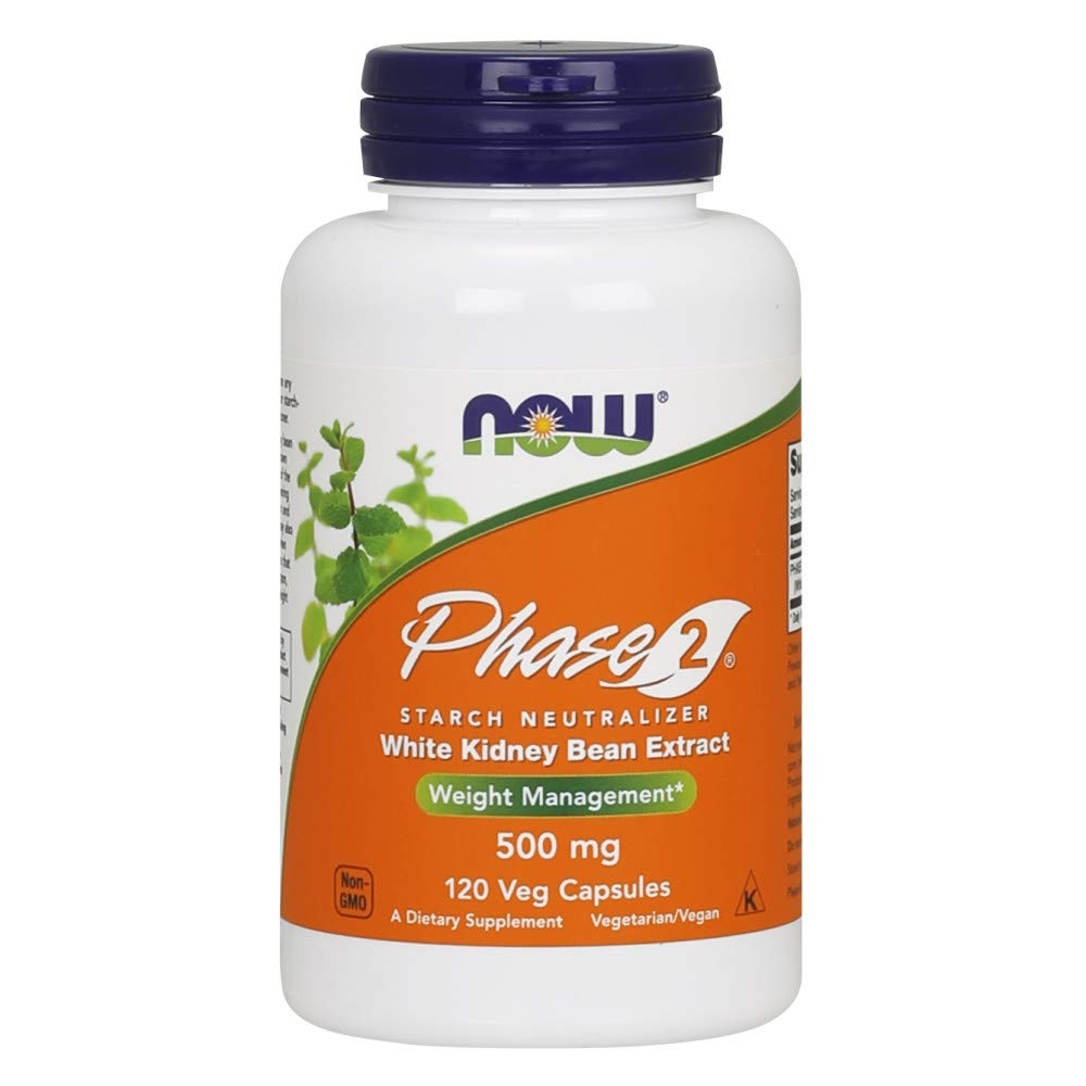 NOW Supplements, Phase 2 (White Kidney Bean Extract)500 mg, 120 Veg Capsules