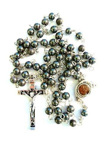 cb782bb45f45 Gorgeous 27 negro hematita Jerusalén suelo perlas de rosario Cruz collar  cadena colgante Crucifijo Chaplet cristiana religiosa católica Oración  Cuentas ...