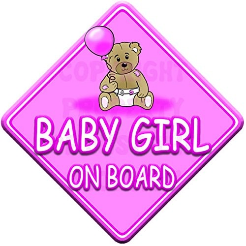 TED BALL * BABY GIRL ON BOARD * car window sign Just The Occasion