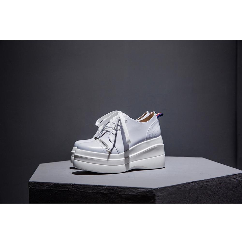 Chaussures à Plateformes Femme WSXY-A2806 Creepers Baskets Double Semelles Personalized Chain,KJJDE , white , 34
