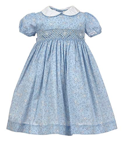 Carriage Boutique Little Girls Blue Floral Dress - Hand Smocking