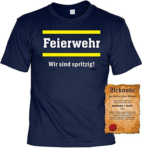 T-Shirt mit Urkunde - Feierwehr - Wir sind spritzig - Lustiges Sprüche Shirt als Geschenk für Feuerwehr Männer mit Humor
