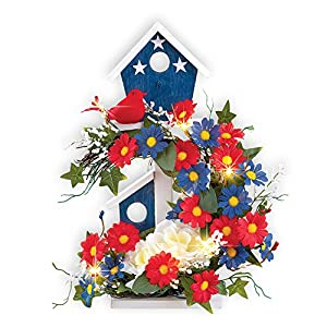 Collections Etc Patriotic Birdhouse Lighted Floral Tabletop Decoration for July 4th, Memorial Day 4