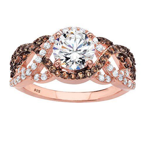 - Rose Gold-plated Sterling Silver Round Cubic Zirconia Simulated Smoky Topaz Crossover Ring Size 8
