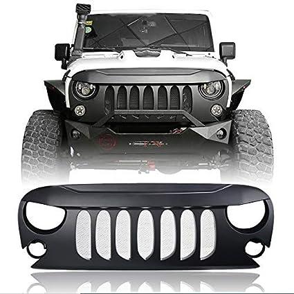 Hooke Road Jeep Wrangler Front Grill Matte Black Demon Grille Wmesh Insert For 2007 2018 Jeep Wrangler Jk Unlimited