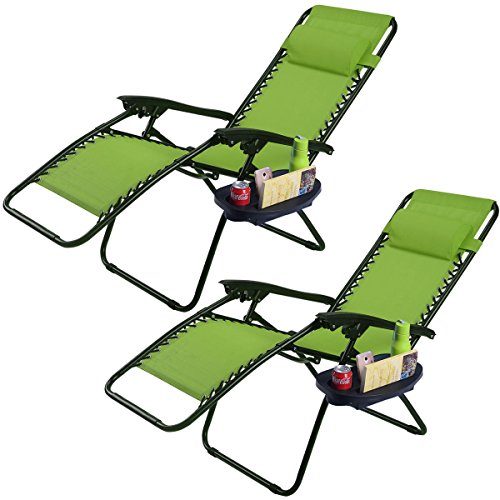 2Pc Green Folding Zero Gravity Reclining Lounge Chairs Beach Patio W Utility Tray