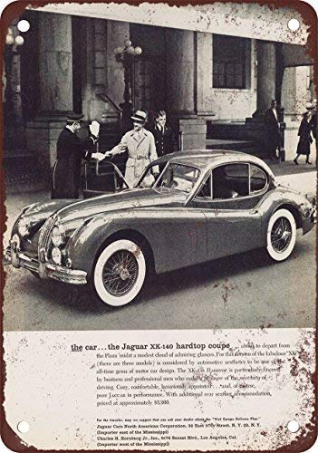 LHZJ Metal Tin Sign 1956 Jaguar XK140 Hardtop Coupe Wall Decor Sign 8x12 Inches
