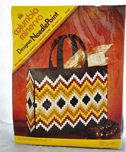 Bargello Zig Zag Tote Designer Needle Point VINTAGE 1973 Columbia Minerva Purse Kit