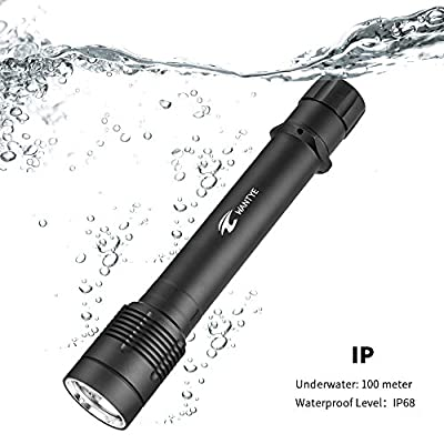 WANTYE Diving Flashlight Scuba Waterproof Lamp 1000LM CREE XM-L L2 U2 LED Underwater 100M Swivel Switch With AC Charger Rechargeable/18650 Battery/Lanyard/Plastic Gift Box Package (Black)