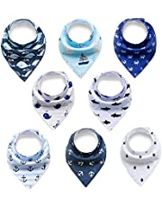 Baby Bandana Drool Bibs,Baby Dribble Bibs with Snaps 8 pack Set for Teething and Drooling,Soft and Absorbent Cotton,Feeding Bibs For Newborns Boys girls Infants Toddlers