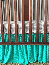 Mint Crib Skirt, Dust Ruffle for Baby Girl Nursery Bedding, Shabby Chic Luxury Vintage Cottage Style for Newborn Bedroom Decor