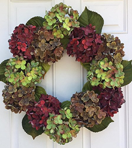 Autumn in New England Summer And Fall Hydrangea Wreath For Front Door or Year Round Indoor Home Decor by Wreaths For Door