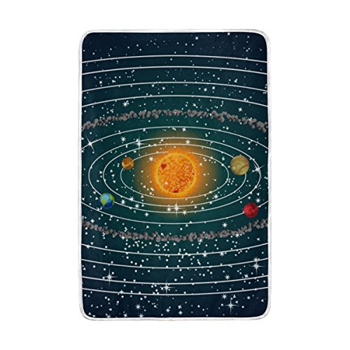 JSTEL Solar System Lightweight Blanket for Adults Men Women Girls Kids Girls Boys Teens Bed Extra Soft Polyester Fabric Super Warm Sofa Blanket Throw Size 60 x 90 Inch by ALAZA