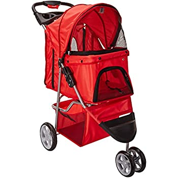 OxGord 3 Wheeler Pet Stroller for Dogs and Cats, Scarlet Red