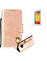 Funyye Rose Gold Premium Wallet Cover for Samsung Galaxy S9,Cute 3D Owl Pattern Design Strap Magnetic Flip Detachable Case with Stand Card Holder Slots Cover for Samsung Galaxy S9,Anti Scratch Full Body Protective Soft Silicone PU Leather Case for Samsung Galaxy S9 + 1 x Free Screen Protector