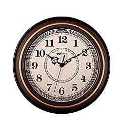 SonYo Silent Non-ticking Round Imitate Wooden Wall Clocks (12 Inches) Decorative Vintage Style,Goldenrim