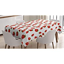 Kitchen Tablecloth by Ambesonne, Cartoon Style Strawberries on White Background Fresh Sweet Fruit Pattern Image, Dining Room Kitchen Rectangular Table Cover, 52W X 70L Inches, Red and White