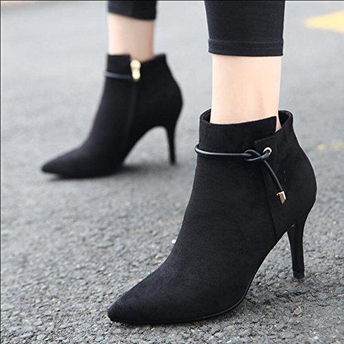 KHSKX-Tipp Satin Fein Mit 9 Cm High Heeled Boots Winter Neue Seitliche Reißverschluss Schwarze Frauen Nackt Stiefel Stiefel 35