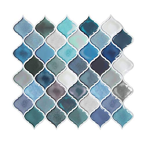 Teal Arabesque Peel and Stick Tile for Kitchen BacksplashDecorative Backsplash Peel and StickStick on Tiles for BacksplashSmart Tiles Peel and Stick Backsplashes 5 Sheets