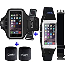 """[3 IN 1] Running Belt + Sports Armband for iPhone 7 6/6s Plus, Fitness Workout Waist Pack Case Bag Gym Jogging Arm Band for Galaxy S8 Plus/S7/S6 Edge+, Men/Women (XS to 4XL), Fits 5.5"""" to 6.2"""" Phones"""