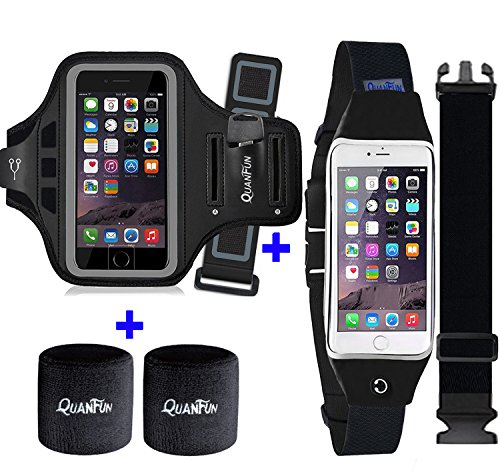 "Price comparison product image [3 IN 1] Running Belt + Sports Armband for iPhone 7 6/6s Plus, QUANFUN Fitness Workout Waist Pack Case Bag Gym Jogging Arm Band Headwear for Galaxy S8 Plus/S7/S6, Men/Women, Fits 5.5"" to 6.2"" Phones"