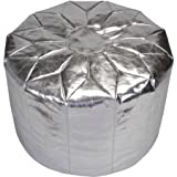 Fun and Fashionable Urban Shop Metallic Morocaan Perfect Accent Circular Pouf in Silver