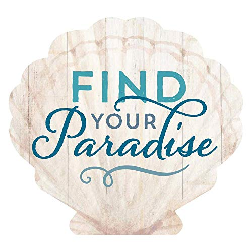 Seashell Plaques - P. Graham Dunn Find Your Paradise Seashell Nautical 4 x 3 Pine Wood Small Tabletop Plaque