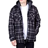 Walnut Creek Hoodie Flannel Fleece Jacket for Men Zip Up Big & Tall Lined Sherpa Sweatshirts (XX-Large,Black/Grey)