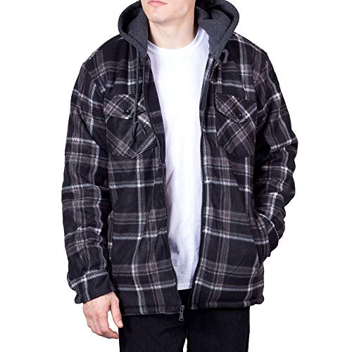 (Walnut Creek Hoodie Flannel Fleece Jacket for Men Zip Up Big & Tall Lined Sherpa Sweatshirts (X-Large,Black/Grey))
