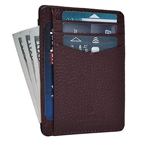 RFID Front Pocket Slim Wallets- Genuine Leather Handmade Minimalist Credit Card Holder By Clifton Heritage
