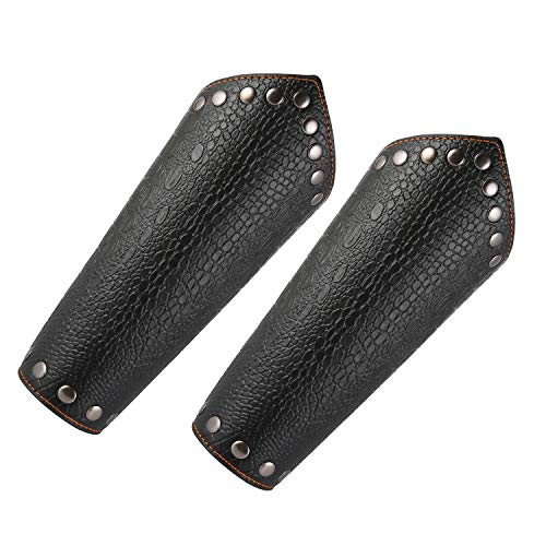 HZMAN Faux Leather Arm Guards - Medieval Knight Bracers - One Size, Black or Brown Black - Dragon Scale