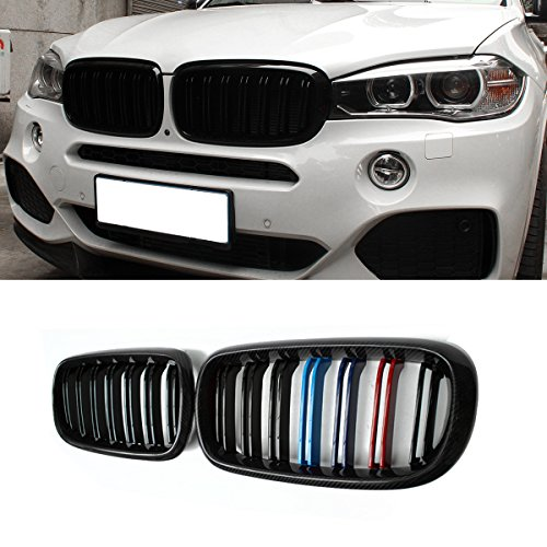 F15 Grille, Carbon Fiber Front Replacement Kidney Grill for X5 Series F15 X6 Series F16 X5M F85 X6M F86 Gloss M Color (2018 Bmw X5 Grill)