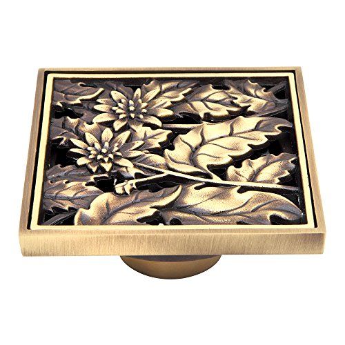 HARPOON Brass Bathroom Floor Drain Square Shower Sink Drain Strainer 4-inch Carved, Antique (Flower)