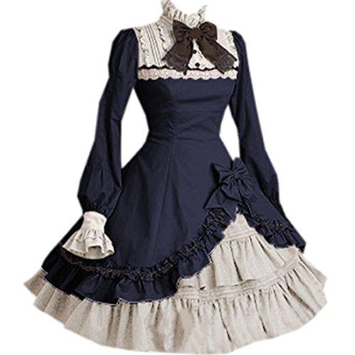 Unregelmaessiges Lolita Langarm Sweet Damen Navy Kleider Schleife Stehkragen Partiss EYwxPqZx