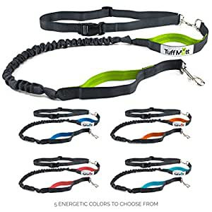 "Tuff Mutt - Hands Free Dog Leash for Running, Walking, Hiking, Durable Dual-Handle Bungee Leash, Reflective Stitching, 4-Foot Long, Adjustable Waist Belt (Fits up to 42"" waist)"