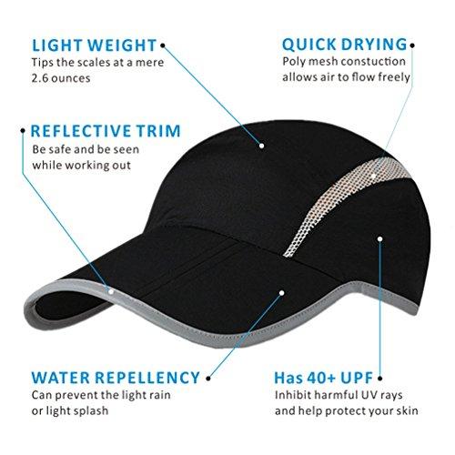 GADIEMENSS Reflective Sports UPF40 Drying Outdoor Running Black Quick Foldable Cap RaqrZwRU