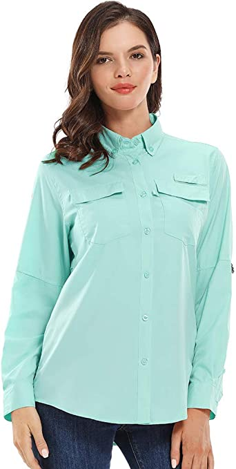 Jessie Kidden - Camiseta de manga larga para mujer, protección solar UPF 50, secado rápido, con luz: Amazon.es: Ropa y accesorios